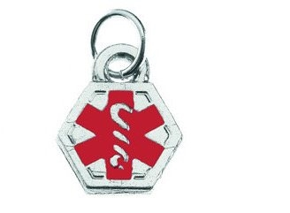DTJ37C Medical Alert Mini Silver Color Charm