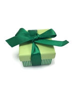 PD01-GR Green Stripe Ribbon Ring Boxes